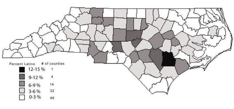 2000 NC Latinos as a percent of total county population