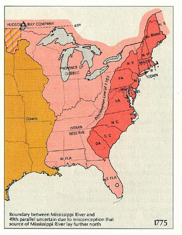 This map shows the restrictions on the colonies' westward expansion under the Proclamation of 1763. Much of the territory west of the Appalachians (shown here in pink) was reserved to American Indians.