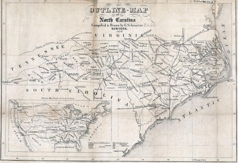 Map of North Carolina railroads, 1854