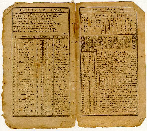 "<img typeof=""foaf:Image"" src=""http://statelibrarync.org/learnnc/sites/default/files/images/pra53jan.jpg"" width=""587"" height=""524"" alt=""Poor Richard's Almanack, January 1753"" title=""Poor Richard's Almanack, January 1753"" />"