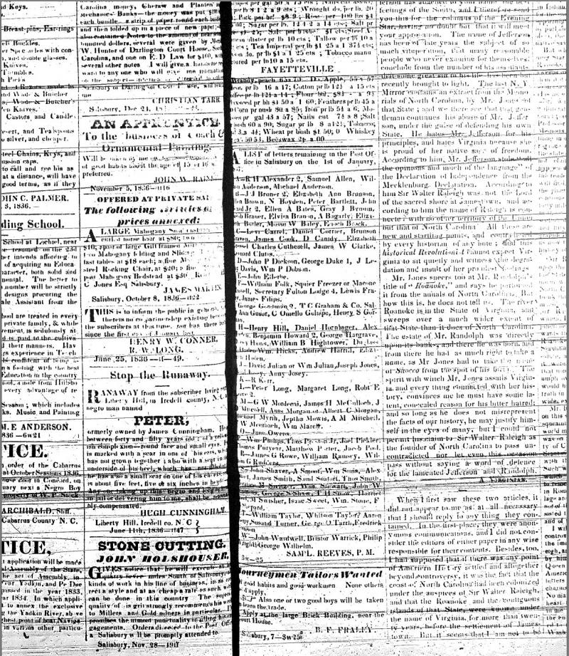 "<img typeof=""foaf:Image"" src=""http://statelibrarync.org/learnnc/sites/default/files/images/slave_ads_p2.jpg"" width=""1233"" height=""1420"" alt=""Carolina Watchman ads: January 7, 1837"" title=""Carolina Watchman ads: January 7, 1837"" />"