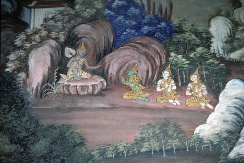 "<img typeof=""foaf:Image"" src=""http://statelibrarync.org/learnnc/sites/default/files/images/thai_rama_068.jpg"" width=""1024"" height=""683"" alt=""Hermit speaks to Rama, Laksman, and Sita"" title=""Hermit speaks to Rama, Laksman, and Sita"" />"