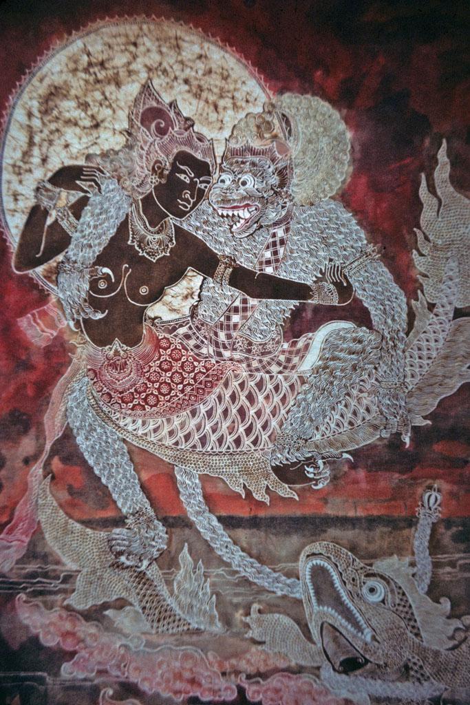 "<img typeof=""foaf:Image"" src=""http://statelibrarync.org/learnnc/sites/default/files/images/thai_rama_137.jpg"" width=""683"" height=""1024"" alt=""Balinese painting of Hanuman courting Ravana's mermaid daughter"" title=""Balinese painting of Hanuman courting Ravana's mermaid daughter"" />"