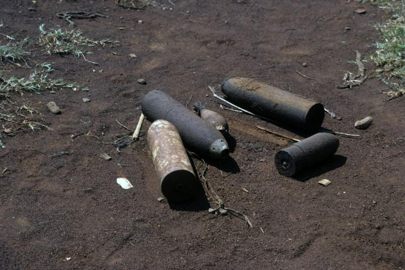 "<img typeof=""foaf:Image"" src=""http://statelibrarync.org/learnnc/sites/default/files/images/vietnam_083.jpg"" width=""1024"" height=""683"" alt=""Four large mortar shells and one grenade left from the Vietnam War"" title=""Four large mortar shells and one grenade left from the Vietnam War"" />"