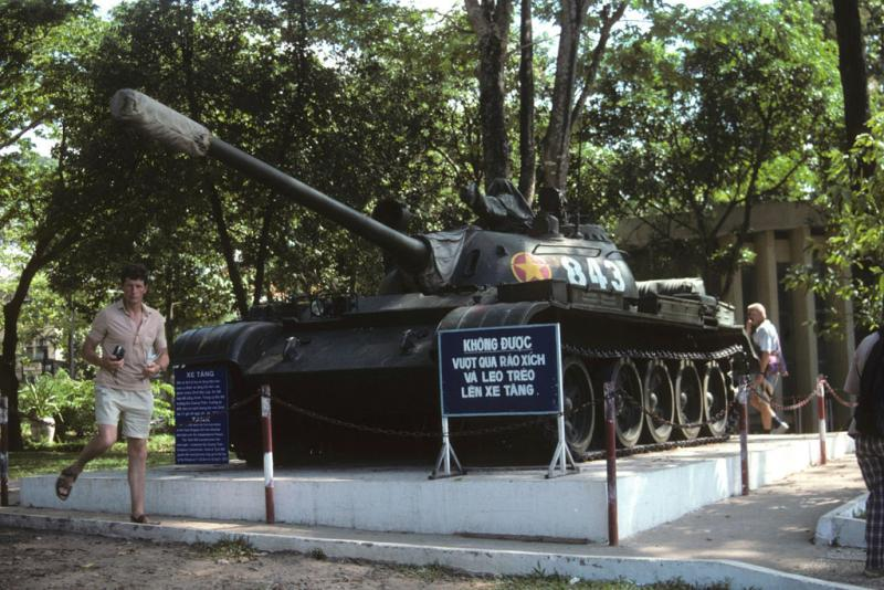 "<img typeof=""foaf:Image"" src=""http://statelibrarync.org/learnnc/sites/default/files/images/vietnam_164.jpg"" width=""1024"" height=""683"" alt=""Tank monument and tourists at Reunification Palace in Ho Chi Minh City"" title=""Tank monument and tourists at Reunification Palace in Ho Chi Minh City"" />"