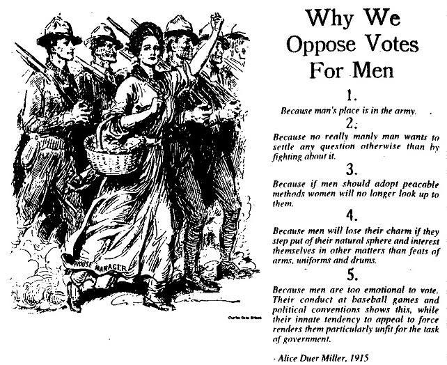 Why We Oppose Votes for Men