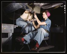 Women at work on a bomber, 1942