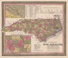 Map of North Carolina showing the Gold Region (1847)