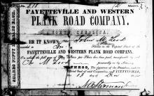 Share certificate from the Fayetteville and Western Plank Road