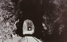 Historic Postcard of rail line through Licklog Tunnels