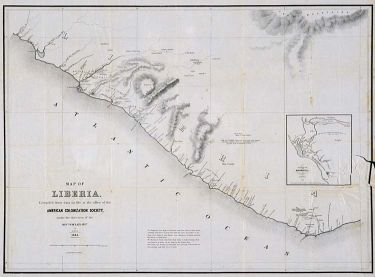 """Map of Liberia, 1845, published by the American Colonization Society (ACS). """