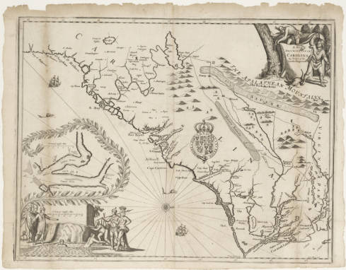 """Ogilby, John. Circa 1671. """"A new discription of Carolina by the order of the Lords Proprietors."""" North Carolina Maps. University of North Carolina at Chapel Hill."""