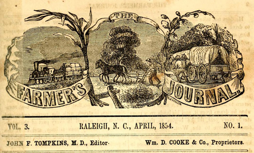 Masthead of the Farmer's Journal of the Agricultural Society from April 1854. Image from Archive.org.