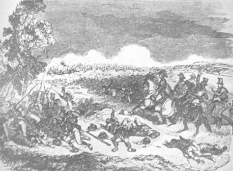 """The Battle of Alamance,"" from the Neglected History of North Carolina by W.E. Fitch, 1905 (pp. 206-232). Image courtesy of Texas A&M faculty, Wallace L. McKeehan."