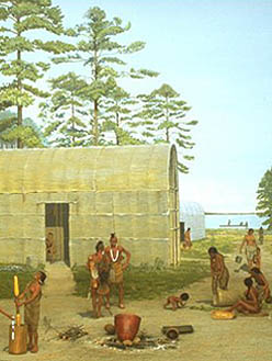 """Scene depicting an Algonquian village in the Carolinas. Photo courtesy of the University of Michigan Exhibit Museum"" Accessed via National Park Service."