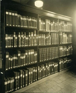 Archives collections room, circa 1914-1920. Image from the North Carolina Museum of History.