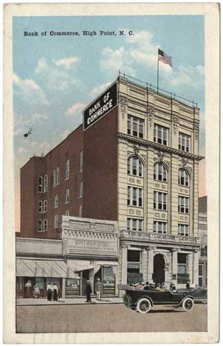 """Bank of Commerce, High Point, N.C."", built by Armfield in 1905. From the Durwood Barbour Collection of North Carolina Postcards (P077), North Carolina Collection Photographic Archives, Wilson Library, UNC-Chapel Hill."