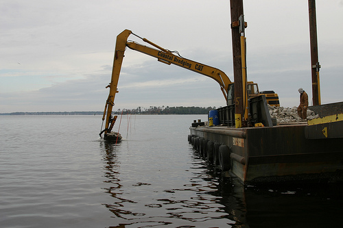An artificial reef under construction off of Jacksonville, N.C., November 30, 2010. Image from Flickr user NCDOTcommunications.