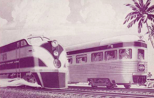 "Atlantic Coast Line Railroad postcard advertising ""The Champions"" service to and from Florida, circa 1950-1960. Image from North Carolina Historic Sites."