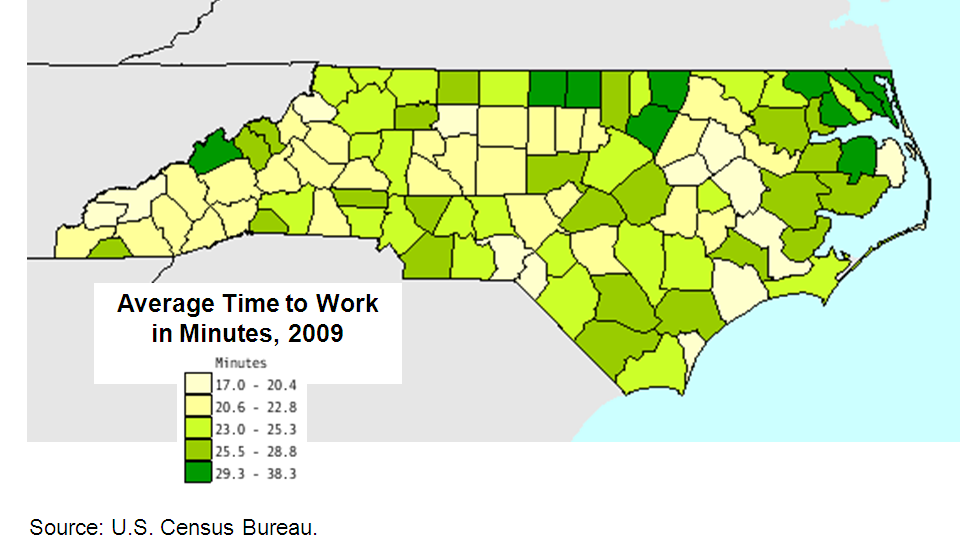 Average commute to work in minutes by county, 2009