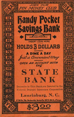 Bank envelope from the Laurinburg branch of the State Bank. Image from the North Carolina Museum of History.