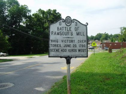 Battle of Ramsour's Mill NC Historical Marker I-37. Image courtesy of the North Carolina Office of Archives & History.
