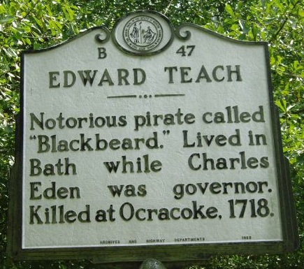 North Carolina Highway Historical Marker for Edward Teach alias Blackbeard the Pirate