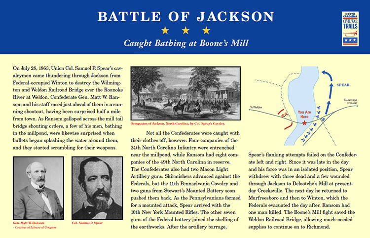 """Battle of Jackson: Caught Bathing at Boone's Mill."" Civil War Trails, Inc. CivilWarTraveler.com."