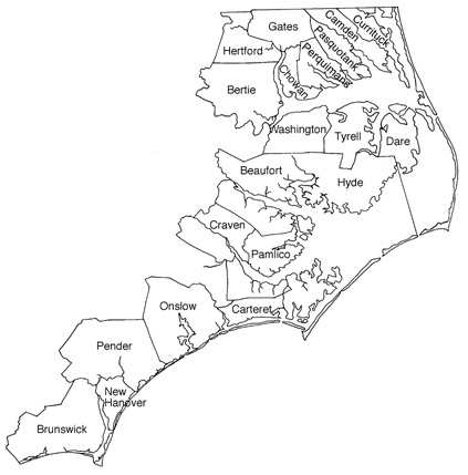 The twenty counties covered by CAMA. Image courtesy of the Division of Coastal Management.
