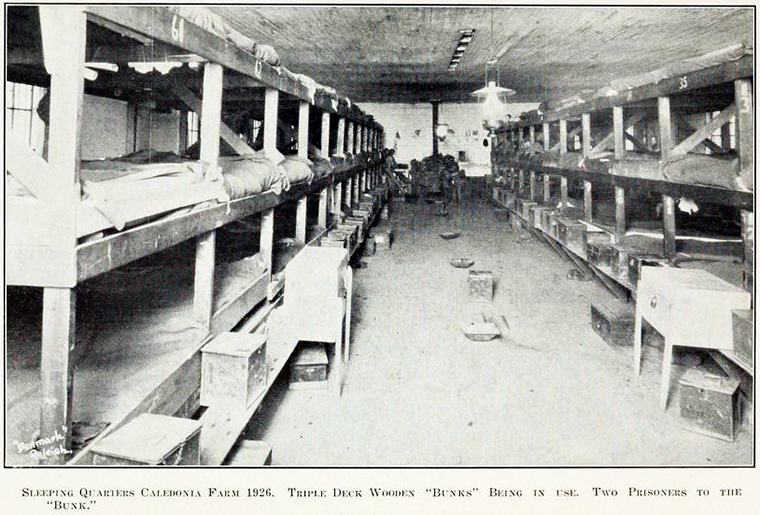 Caledonia Prison Farm sleeping quarters, 1926. Image from the Biennial report of the State's Prison 1925-1926 in the North Carolina Digital Collections..