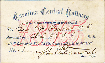 Carolina Central Railway boarding pass, 1875. Image from North Carolina Historic Sites.