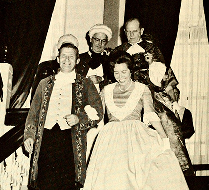 North Carolina governor Terry Sanford and his wife in period costumes at ceremonies to inaugurate the Carolina Charter Tercentenary, January 4, 1963. Image from the Internet Archive.