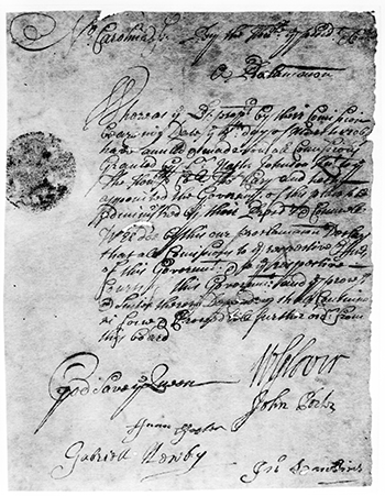 Proclamation regarding Thomas Cary  from 1708. Image courtesy the State Archives of North Carolina.