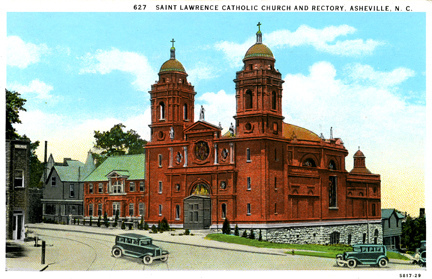 """Saint Lawrence Catholic Church and Rectory, Asheville, NC."" Image courtesy of the North Carolina State Archives."