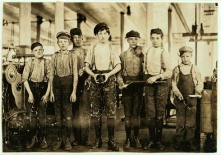 Boys working at the Ivey Mill Company, Hickory, North Carolina. Photography taken by Lewis Hine for the National Child Labor Committee.