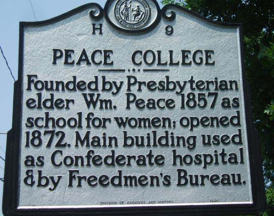 Peace College mile marker is located in Wake County. Photo is courtesy of the North Carolina HIghway Historical Marker Program.