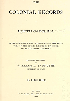 Title page of The Colonial Records of North Carolina, 1886. Image from Archive.org.