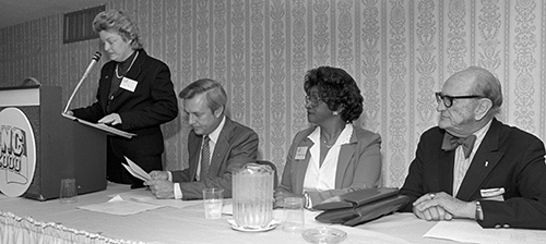 Jane Patterson, Governor Hunt, Elizabeth D. Koontz, and Secretary of State Thad Eure at a NC 2000 meeting. Image courtesy of the News and Observer /State Archives of North Carolina..