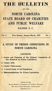Title page of The Bulletin of the North Carolina State Board of Charities and Public Welfare, 1923, featuring the results of the Committee of One Hundred's work. Image from Documenting the American South, University of North Carolina at Chapel Hill.