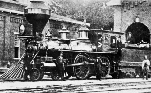 Company Shops, Burlington, Alamance Co., c.1880 NCRR locomotive built by Pittsburgh Locomotive Works (from Crossties Through Carolina, p.72). Image courtesy of the State Archives of North Carolina, call #: N_74_10_3067.