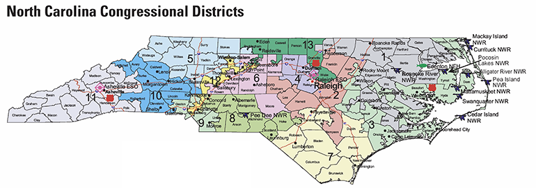 Map of North Carolina congressional districts, 2011. Image from the U.S. Fish and Wildlife Service.