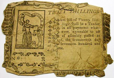 Counterfeit North Carolina 20 shilling note, 1783-1785. Image from the North Carolina Museum of History.