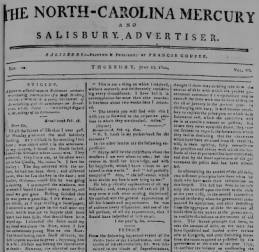 North Carolina Mercury, and Salisbury Advertiser first published by Coupee in 1798.