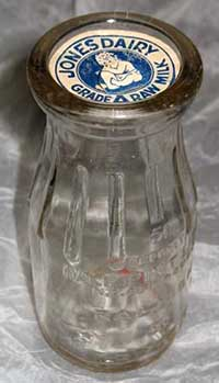 Jones Dairy milk bottle, 1945. Image from the North Carolina Museum of History.