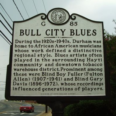 Photograph of the BULL CITY BLUES North Carolina Highway Historical Marker