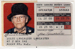 North Carolina driver's license issued 1969. Image from the North Carolina Historic Sites.