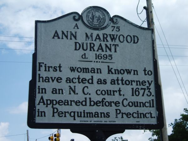 Ann Marwood Durant NC Highway Marker