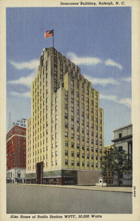 Postcard of the Durham Life Insurance Company in Raleigh, N.C. from the North Carolina Collection, University of North Carolina at Chapel Hill.