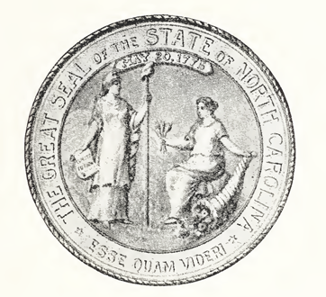 The State Seal of North Carolina, 1945. Image from the North Carolina Digital Collections.