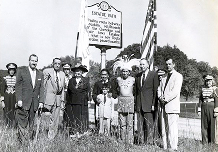 Photograph of the unveiling ceremony for the Estatoe Path historical marker, 1957. Image from the North Carolina Museum of History.